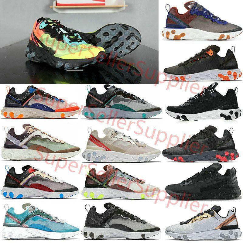 Nike air react element 87 55 Undercover 87 55 corsa per gli uomini donne Luce Bone tripla Royal Black Solar team Red mens formatori sport della scarpa da tennis corridore