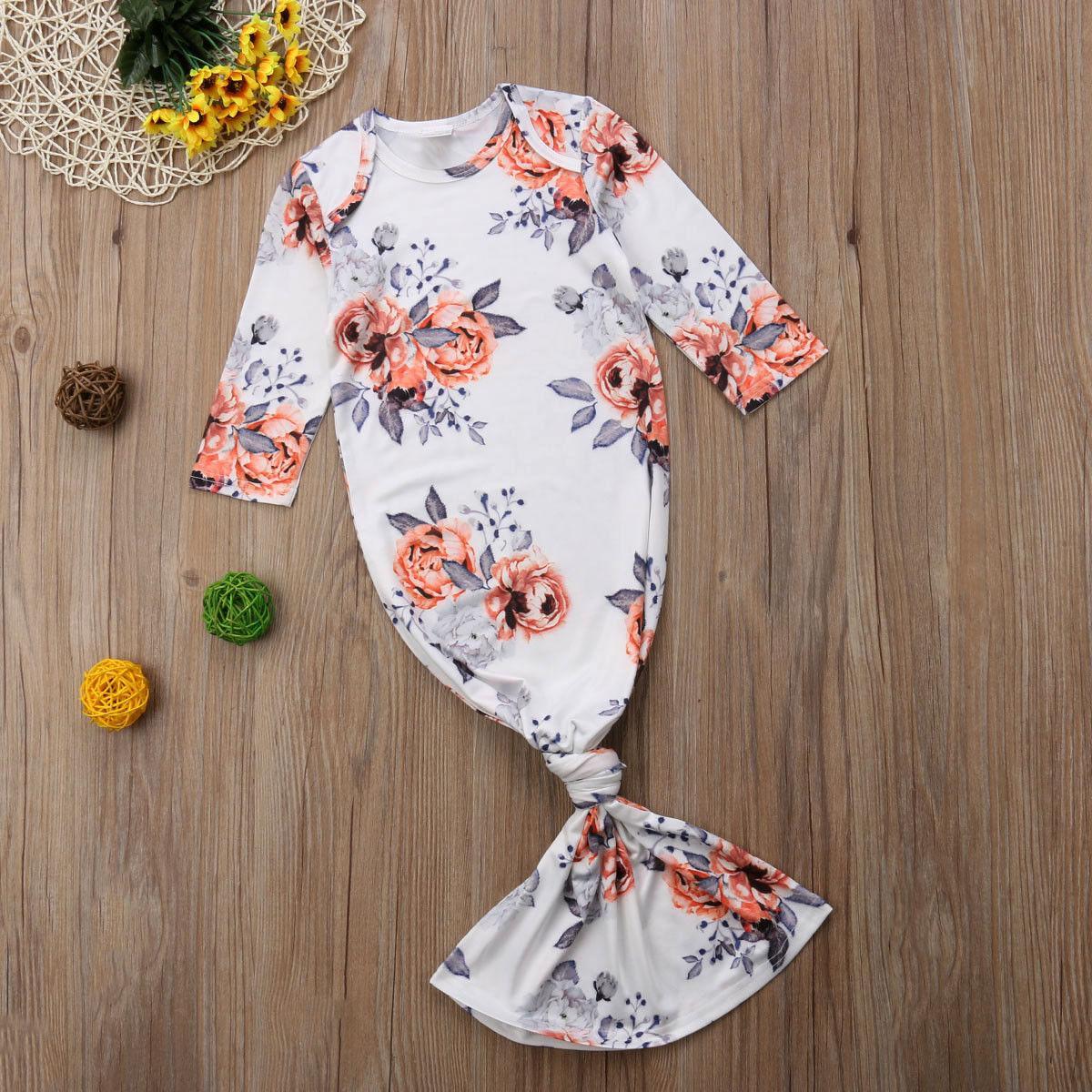 Recém-nascido Floral Bebés Meninas Pijamas Robe manga comprida do sono Saco de roupa