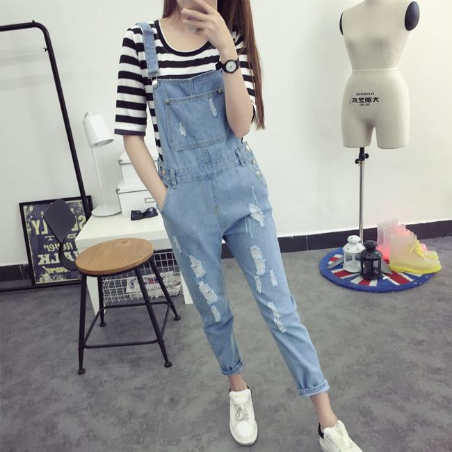 2019 New Arrival Women Pocket Ripped Denim Jumpsuits High Quality Braces Cowboy Light Blue Basic Overall for 4 Season