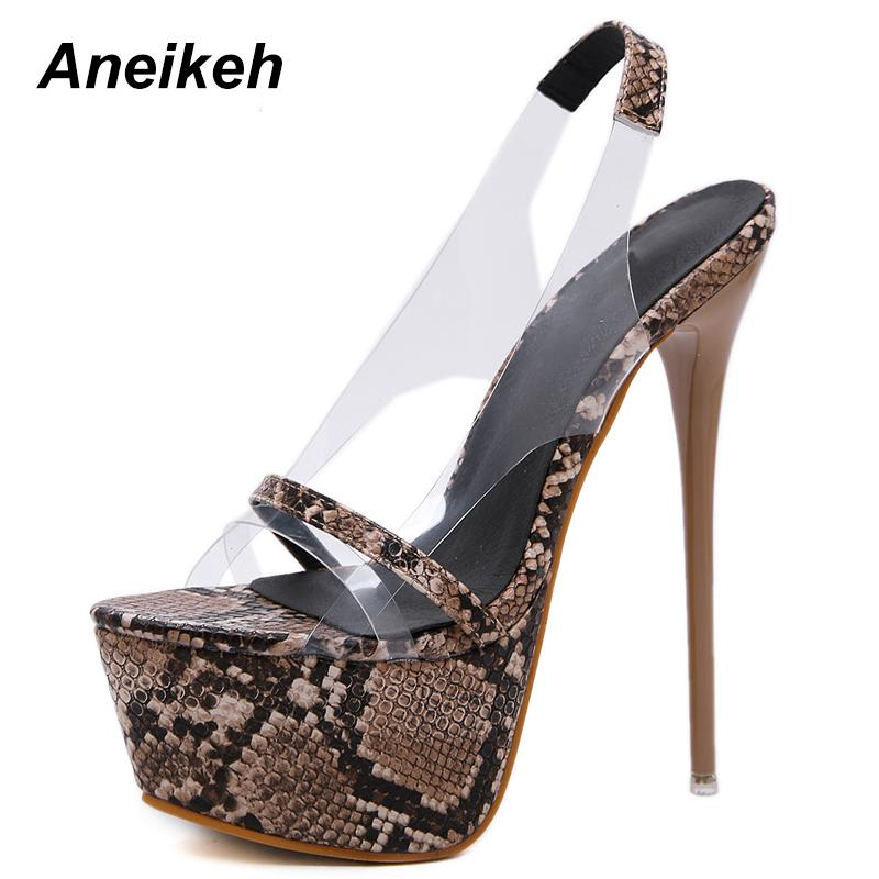 Aneikeh 2019 Fashion New Pvc Leopard Print Platform High Heels Sandals Summer Sexy Slip-on Open Toe Gladiator Party Women Shoes Y19070303