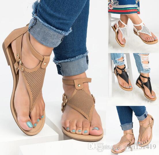 2019 novo romano cinta toe sandálias das senhoras ocas sandálias planas de volta zipper sapatos de tamanho grande