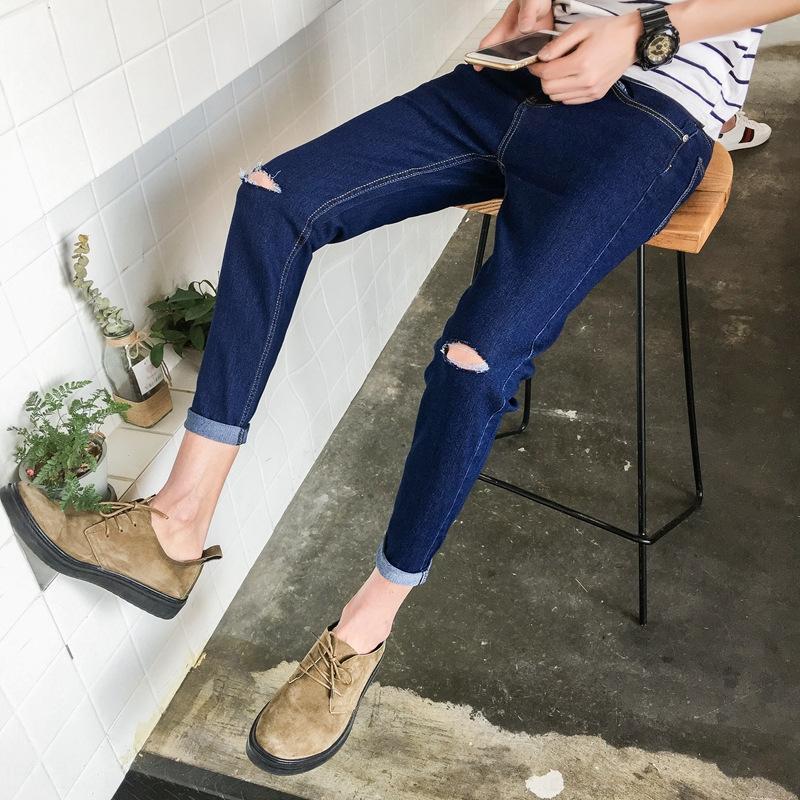 0Jjz6 sciolto strappato coreana e jeans i jeans primavera e l'estate degli uomini alla moda mendicante nuovo tutto-fiammifero pantaloni dritti pantaloni moda casual casuale