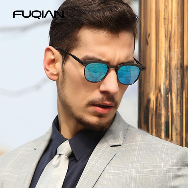 Fuqian Óculos TR90 Metal Polarized Sunglass Design Marca Masculino Homens Pequeno Redondo Luxo Sol 2020 Moda Óculos De Sol Dirigindo Mulheres cspkt