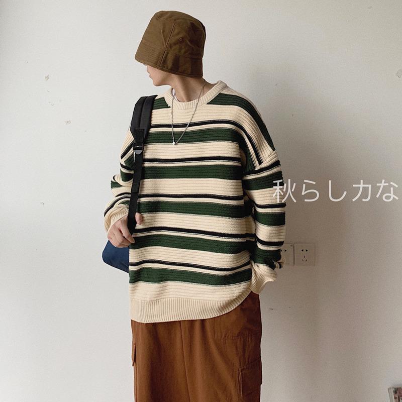 Hombres suéter 2019 otoño e invierno nueva rayas cuello redondo que basa la camisa suéter flojo de moda juvenil ropa de hombre retro