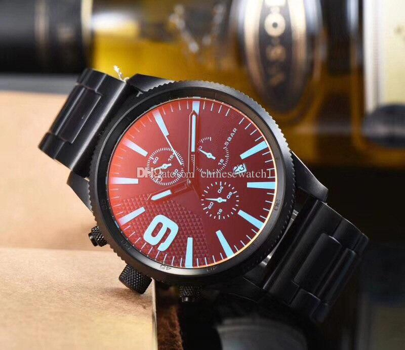 Chinese Watch, Dial Grande Vidro, de alta qualidade Movimento quartzo, pulseira de couro, Multi-função em segundos Run, totalmente normal Trabalho, originais