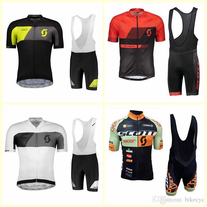 Scott Team Cycling Mangas cortas Jersey Babero Shorts Sets Mens MTB Bike Sports Ropa Verano Bicicleta Ropa 3D Gel Pad U121815