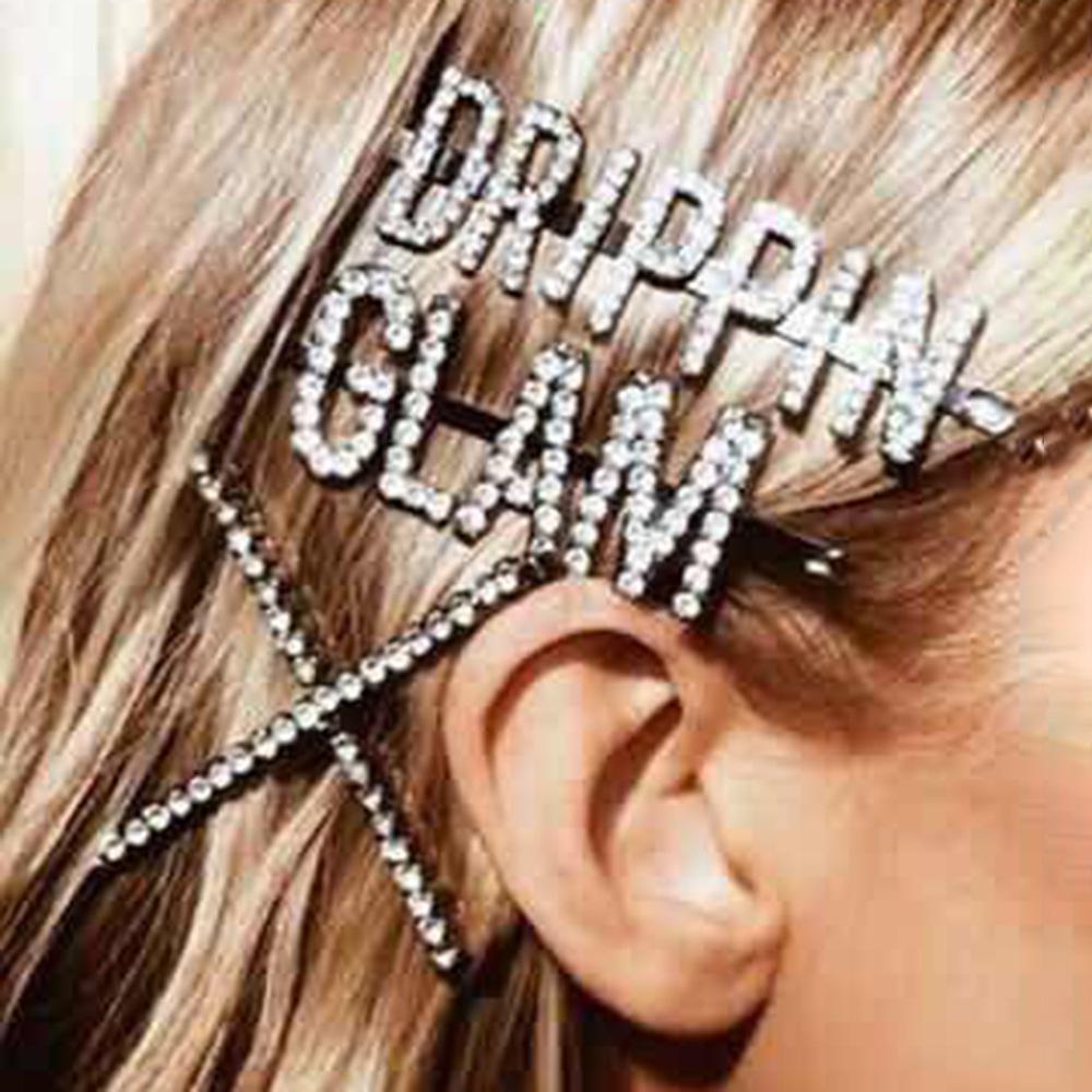 Европейский и американский стиль Net Red English Письмо пересекают Rhinestone Hair Clip Chement Preament Diamond Super Flash Слово Папка Аксессуары для волос