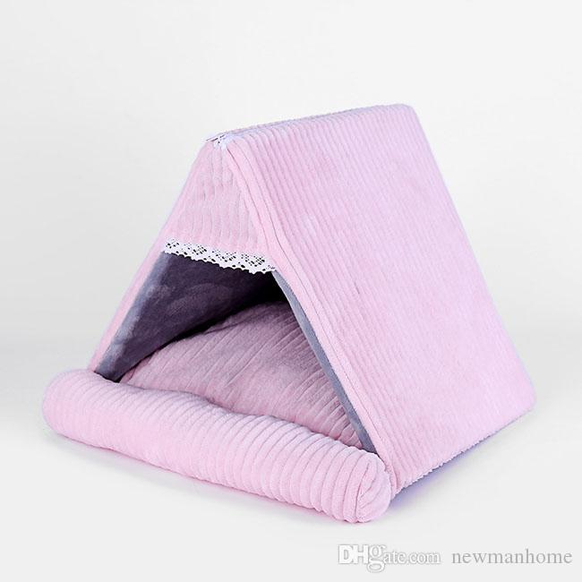 Pet house winter warm kennel small size medium size doggy corduroy material durable triangle shape pure color washable cat use home portable