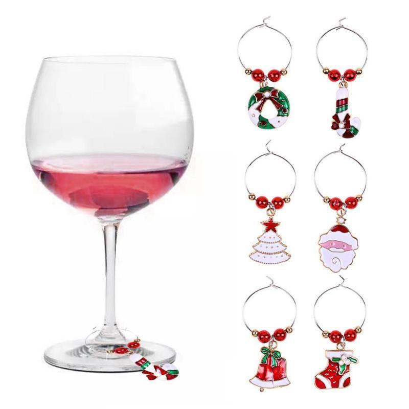 6pcs / lot Bague de Noël Verre à vin Charms décoration fête du Nouvel An Coupe de table Décorations de Noël Pendentifs decoracion Navidad