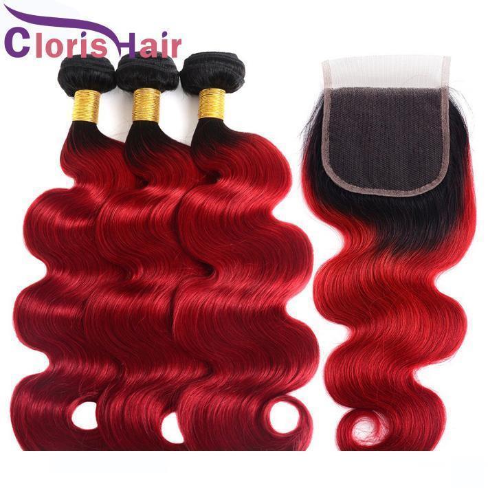 Una cabeza llena 1b Red Ombre del cabello humano de la armadura de los paquetes con color Cierre de Malasia Virgen onda del cuerpo de tapa del cordón cierres y Extensión Ombre