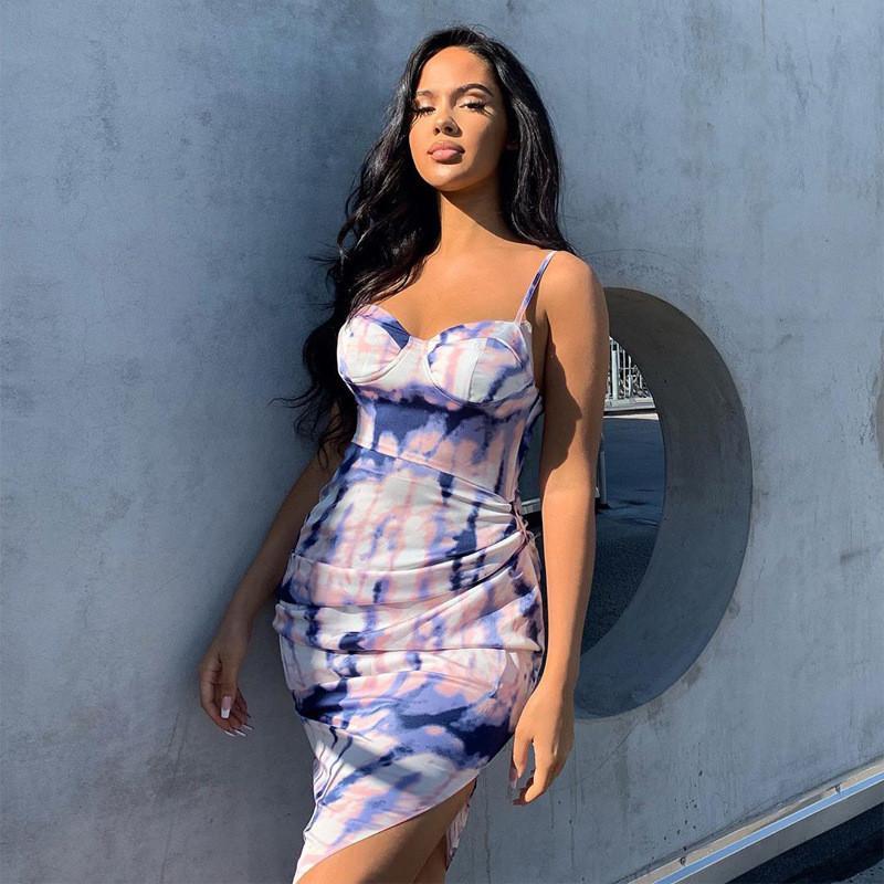 2020 Sommer Ärmel Unregelmäßige Sexy Midi-Partei-Kleid Frauen Fashion Street Outfits Abbindebatik Drucke Sundress dünne weibliche Robes