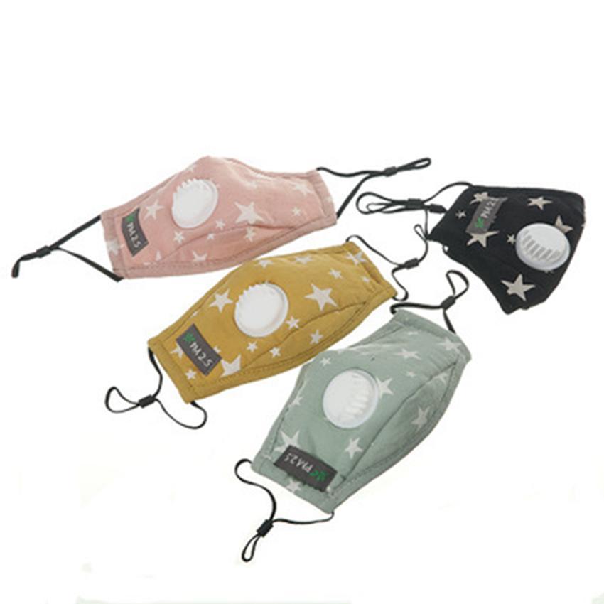 Los niños de respiración cara de la válvula máscara de la máscara algodón de los niños lavable y transpirable a prueba de polvo Cara Con 2pcs Filtros IIA174
