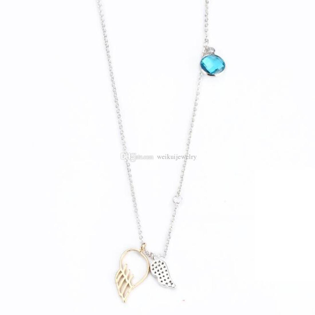 Moda encanto alas de ángel collar alas de ángel Colgante de cristal de piedra de nacimiento para la novia / joyería exquisita regalo