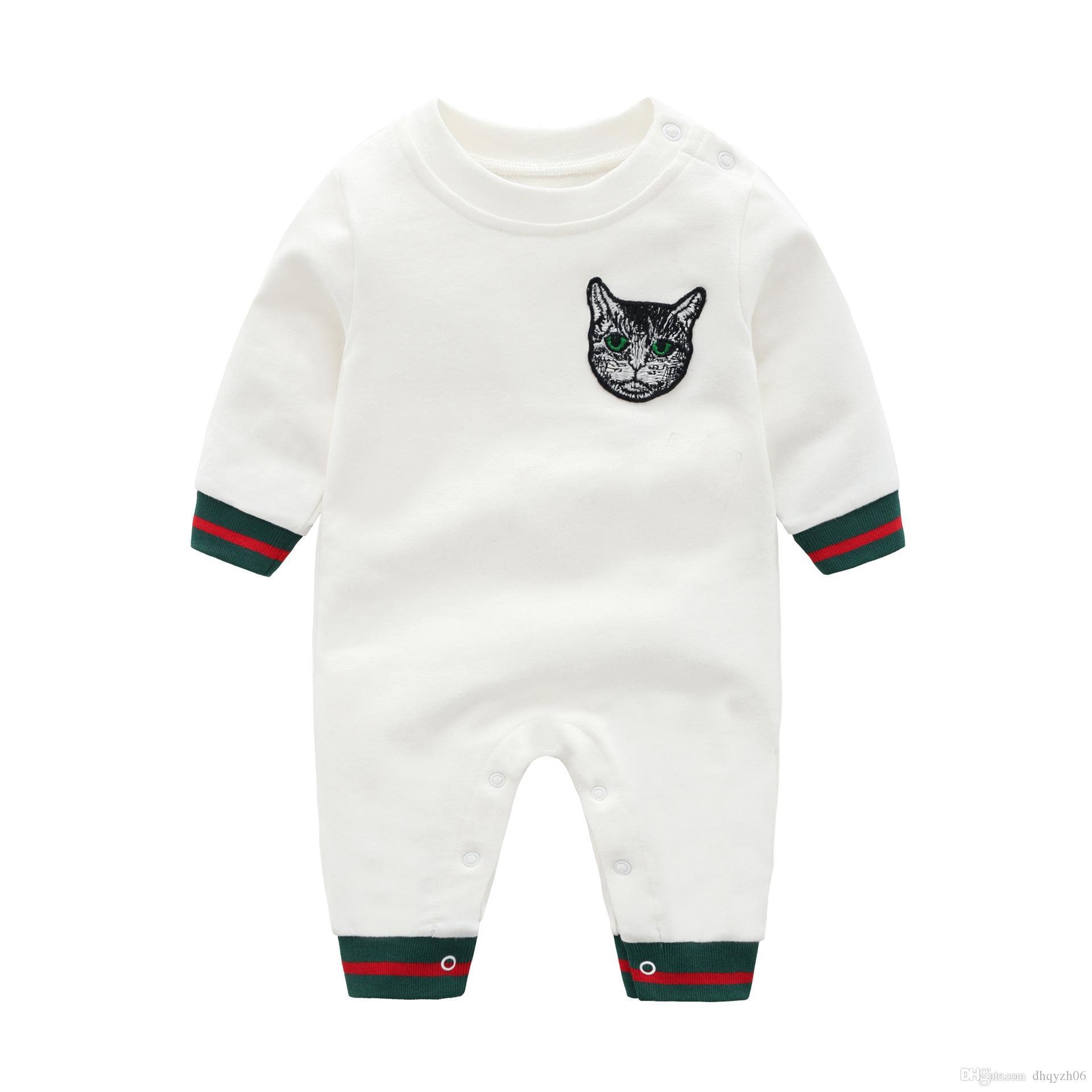 새로운 디자이너 브랜드 디자인 아기 장난 꾸러기 Jumpsuit 소년 아기 긴 소매 면화 자수 고양이 패턴 어린이 의류 의류 jumpsuit 0-2