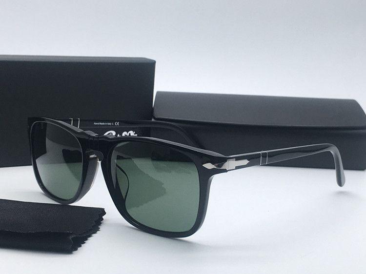 stile di qualità Hotsale Euro-Am Perso3059-S unisex Pilot occhiali da sole UV400 52-18-140 importato puro plancia + HD lenti in vetro verde imballaggio fullset