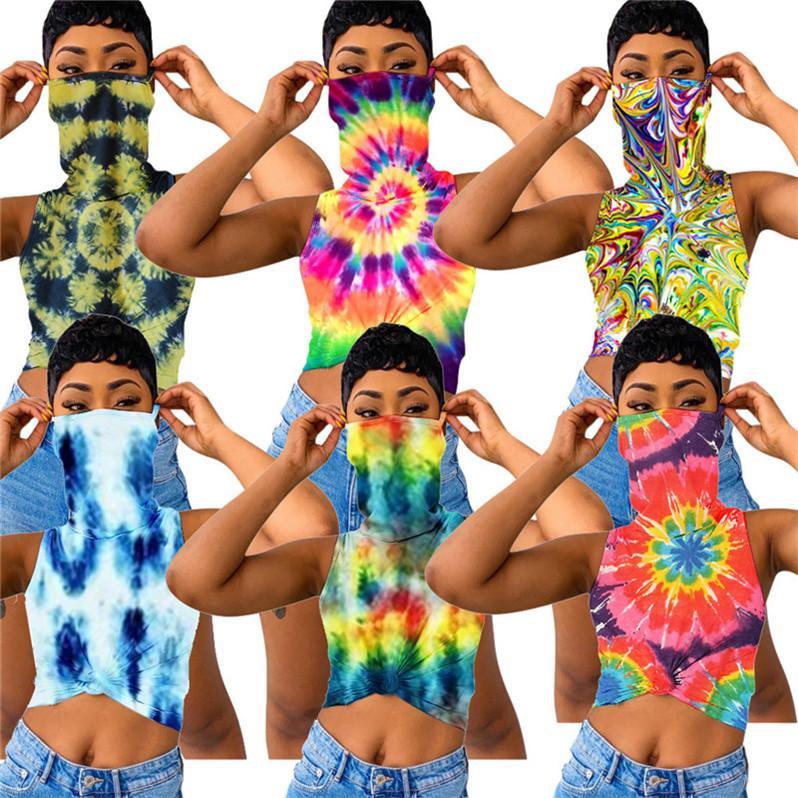 여성 T 셔츠 컬러 타이 염색 꽃 인쇄 민소매 조끼 티셔츠와 페이스 마스크 자르기 탱크 탑 여름 여성 의류 S-3XL의 D6905