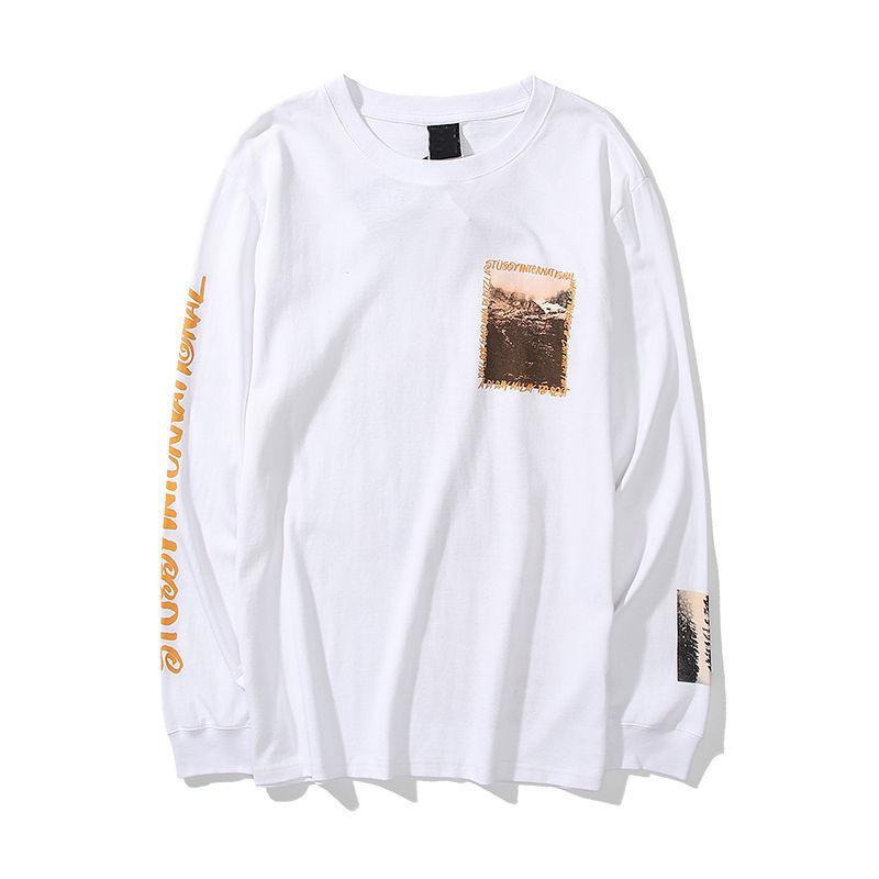 nueva personalidad fuente cartel de algodón puro 2020 hombres y mujeres otoño manga larga sudadera suéter delgado