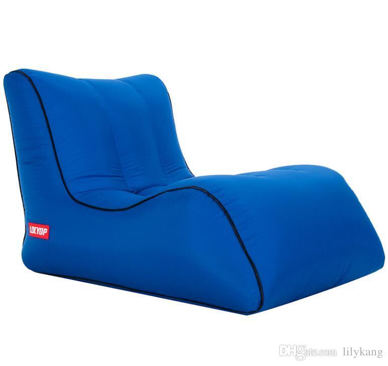 Fast Inflatable Lazy bag Sleeping Air lounger chair Camping Portable Air Sofa Beach Bed Hammock Nylon sleeping Sofa beach bags