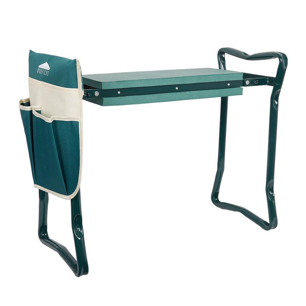 Garten Kneeler und Sitz Folding Edelstahl-Garten-Hocker mit Werkzeugtasche EVA Kniend Pad Garten Geschenke Versorgung
