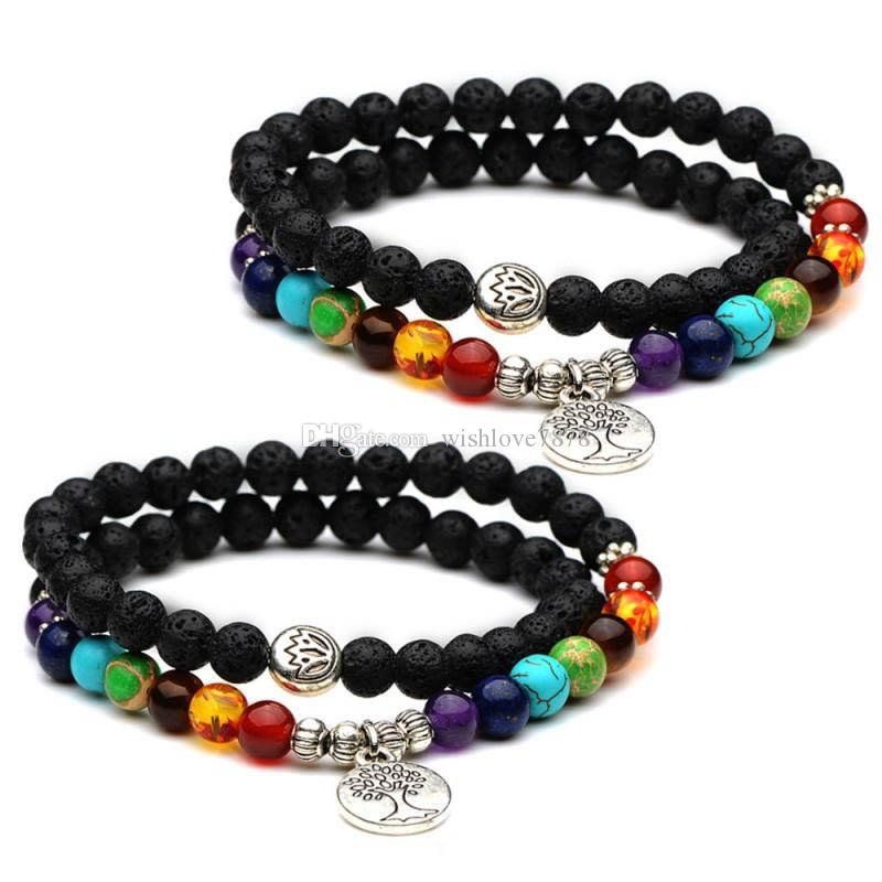 Trendy Round Life Tree Lutos 6mm Natural Black Lava Stone 7 Chakra Yoga Beaded Elastic Bracelets Bangles For Women Men