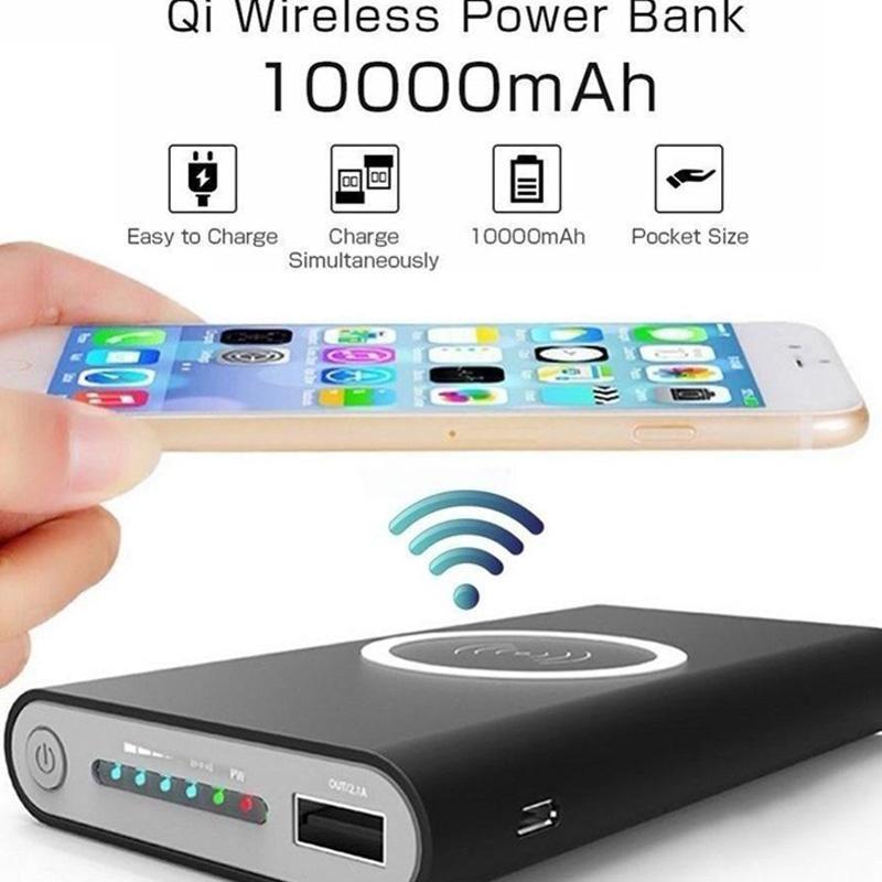 10000mAh универсальный портативный банк силы Ци Беспроводное зарядное устройство для iPhone 8 Samsung S6 S7 S8 POWERBANK Мобильный телефон Беспроводное зарядное устройство