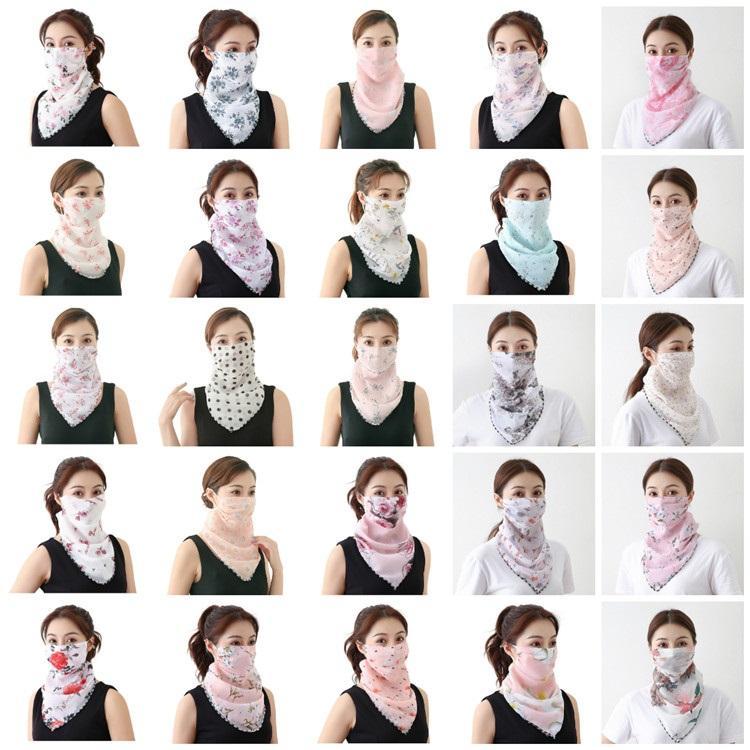 nueva bufanda de las mujeres de la gasa de la mascarilla del pañuelo a prueba de viento de la media cara de polvo a prueba de polvo de la sombrilla Máscaras máscara del partido máscaras T2I51123