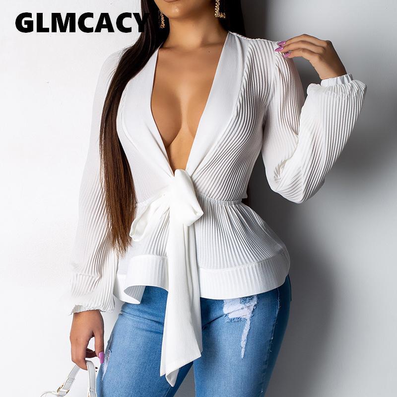 Женщины Elegant слоеного рукав блузки рубашки Sexy V шеи Пояса Wrap Блузка с длинным рукавом оборками Summer Tops Femme баски Топ Blusas