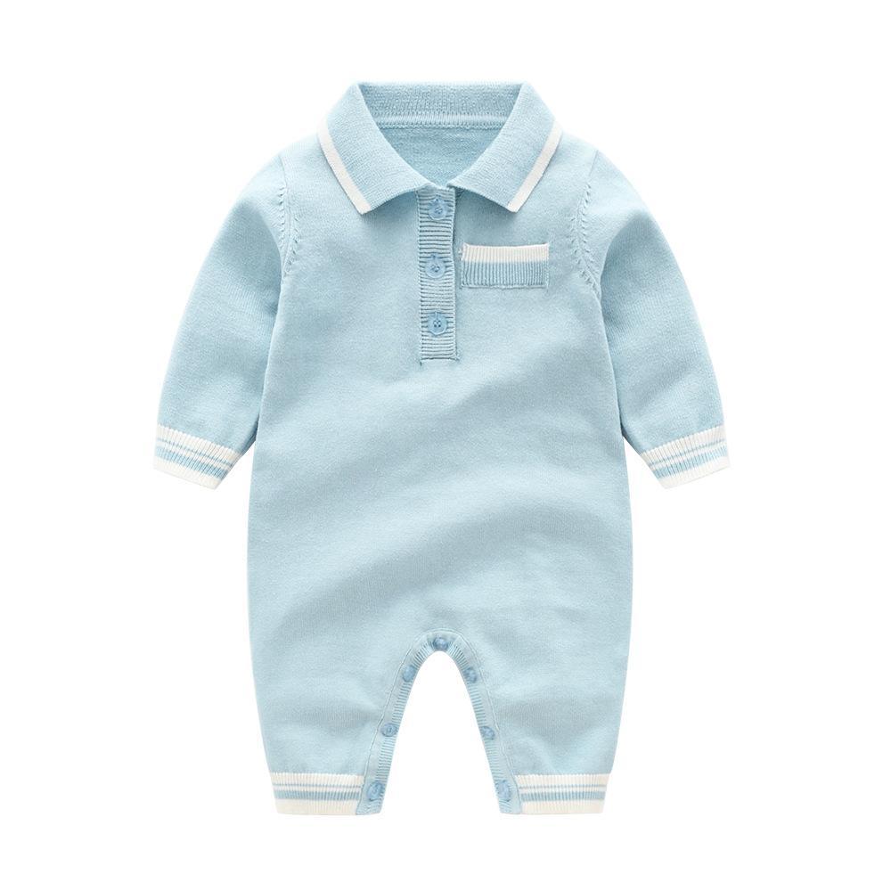 طفل رضيع مصمم بوي اخفض الياقة رومبير ملابس تريكو بنات كم طويل لون الصلبة رومبير الملابس رومبير