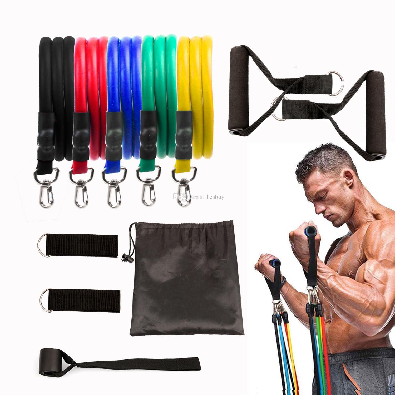 11pcs / set tire de la cuerda ejercicios de fitness Bandas de resistencia del látex Tubos pedal Entrenamiento Corporal excerciser entrenamiento Yoga banda elástica
