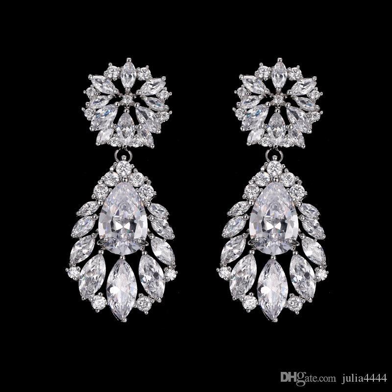 Fiori d'argento strass cristallo orecchini da sposa in oro rosa lacrime gocce orecchini da sposa di lusso gioielli accessori da sposa