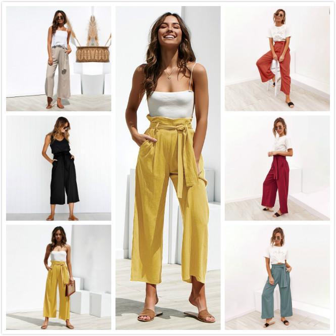 Pantalones de diseñador para mujer Correa de cuatro colores Primavera Verano Pantalones casuales Moda Pantalones de color sólido Ropa de mujer Venta caliente S-XL Nueva llegada
