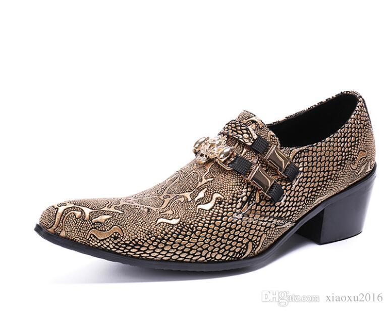 Designer pointed toe men oxfords Snake skin Men dress shoes metal head men Formal leather shoes Sapato Social Masculino
