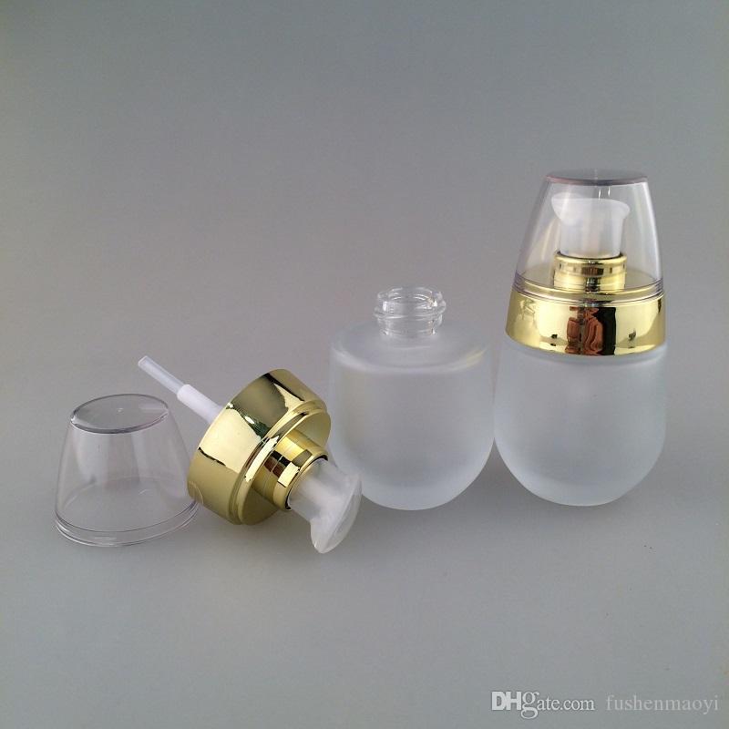 NOUVEAU Distributeur de bouteilles de jar cosmétiques de verre dépoli de 30 ml / 1Oz Distributeur de bouteilles de voyage pour essence Shampooing pompe pressée Conteneurs cosmétiques vides
