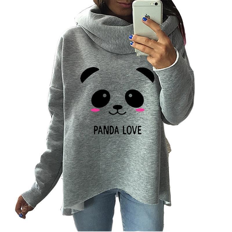 2019 Mode-Panda-Weihnachts Kleidung Damen Hoodies Winter-Schal-Kragen-lange Hülsen-beiläufiger Karikatur Sweatshirts Pullover Raute Y200610