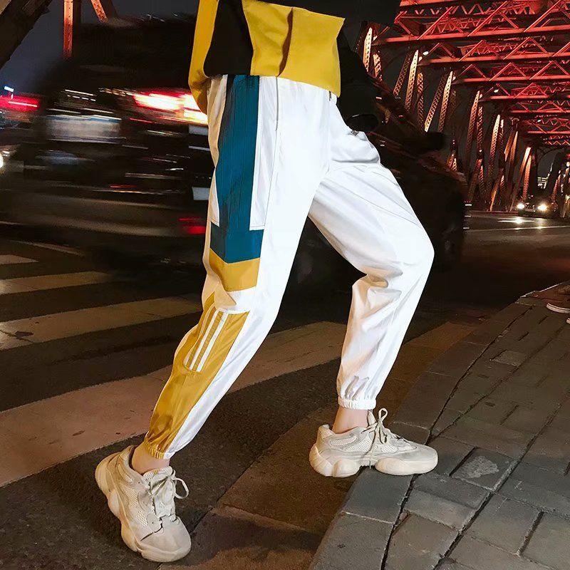 ZK Side Stripes Printed Color Block Patchwork Track Pants Vintage Mens Hip Hop Windbreaker Streetwear Trousers Harem Pants Male