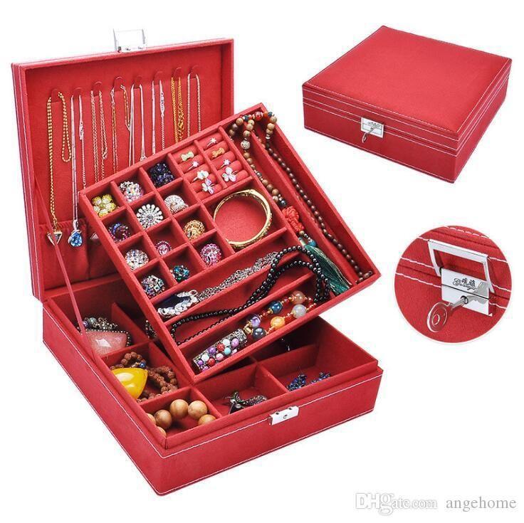 10 cores jóias caixa de presente multi Cosmeticjewelry Organizer com bloqueio de anel colar brincos caixas de armazenamento para Travel Home