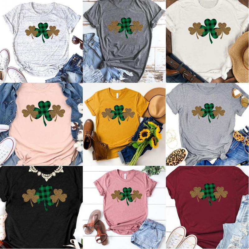 T shirt di Lucky Shamrock T-shirt del trifoglio stampa Leopard manica corta o-collo casuale cotone traspirante regalo Tee vacanze 9 stili U90FZ