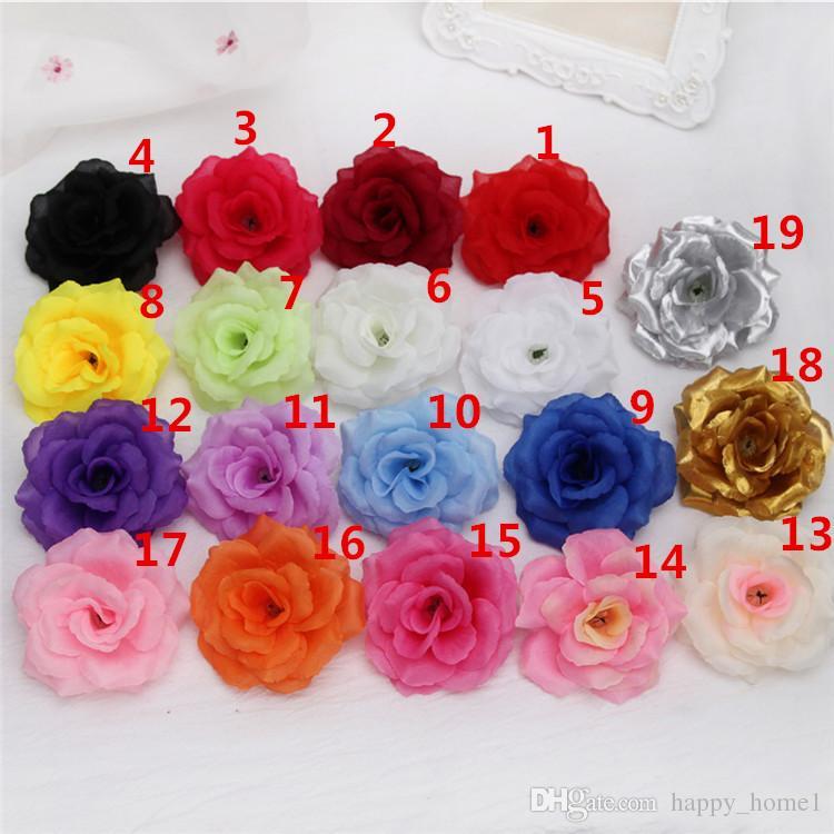 Tête de fleurs roses artificielles Toile de fleurs décoratives de la fête Décoration Mariage Mariage Bouquet Blanc Roses 8cm