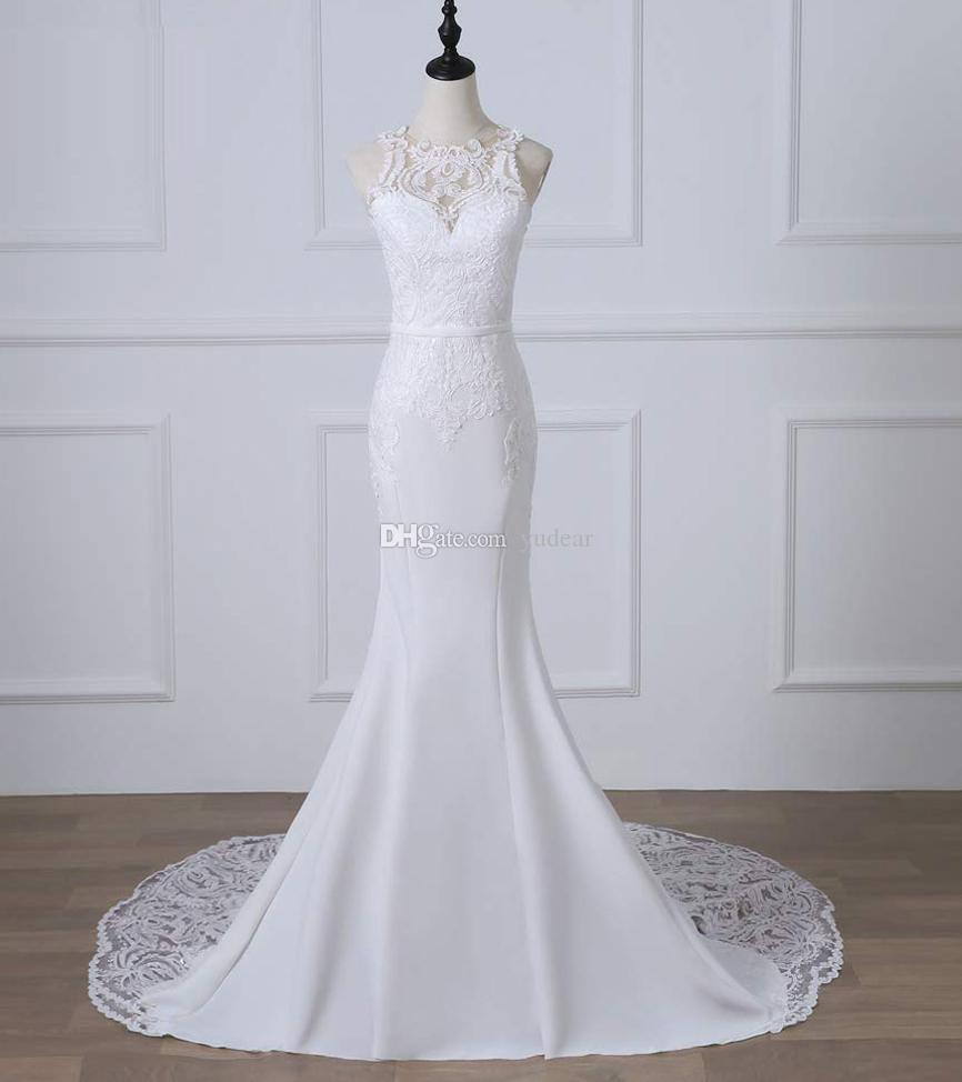 2019 Scoop Sleeveless Mermaid Wedding Dresses V-Back Long Formal White Lace Appliques Border Wedding Gowns Cheap Fast Shipping Bridal Gowns