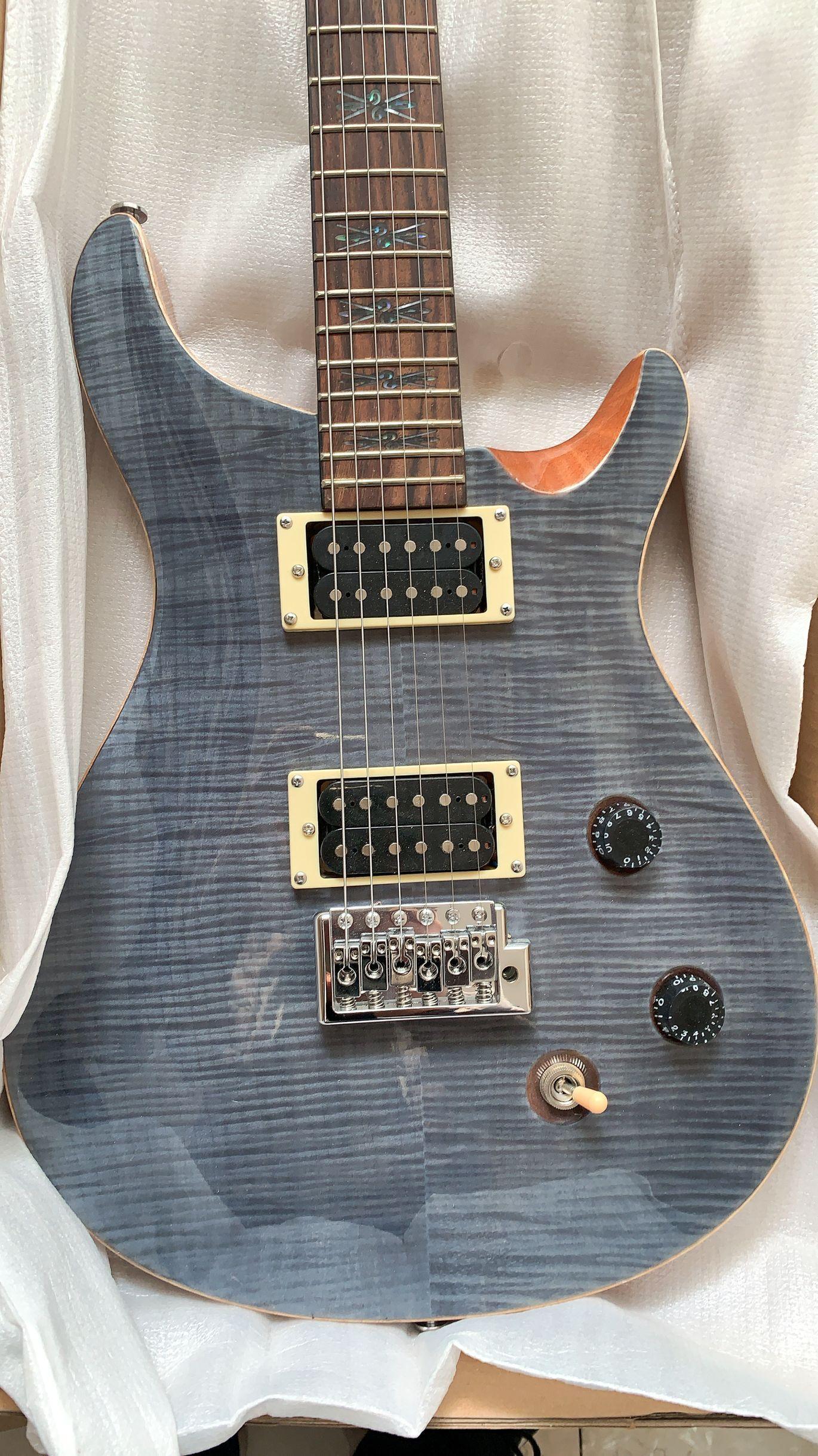 폴 리드 DGT 데이브 반장님 블랙 그레이 플레임 메이플 탑 전기 기타 트레몰로 브릿지, 자연, 특수 인레이, 화염 메이플 주축 바인딩