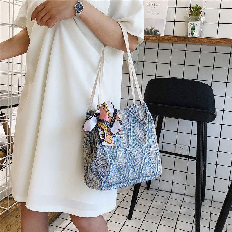 Bohemian Summer Straw Sac de plage Voyage shopping Femme sacs fourre-tout en osier