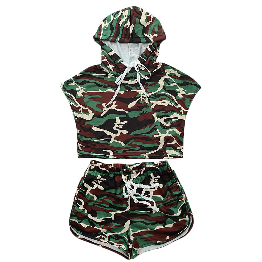 Women Army Green Camouflage Batwing Sleeve Jumpsuits Rompers Two-Piece Outfit