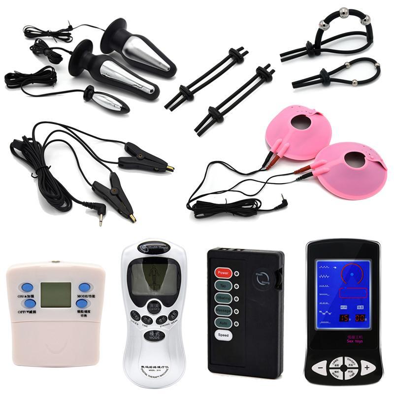 Kit de descarga eléctrica Electro Pulso Estimulación Anillos del pene Glande de masaje Orgasmo Vibrador Butt Plug anal Pezón Abrazaderas Juguetes sexuales C18122501