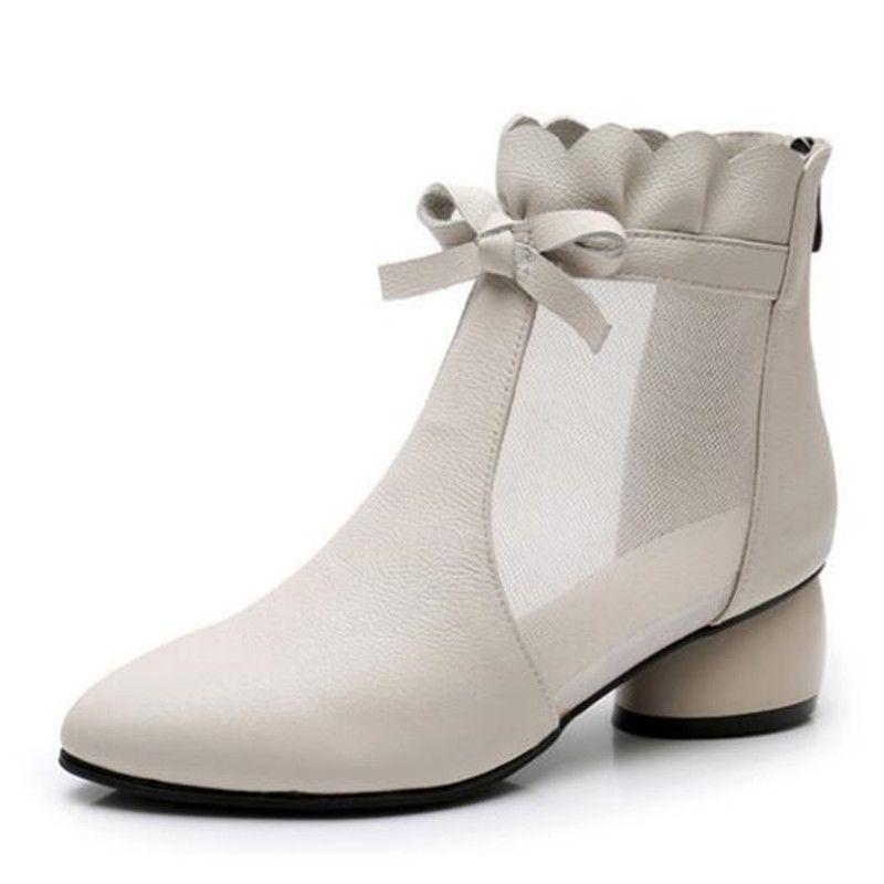 2020 Summer New Bow Mesh peau de vache Sandales Femme en cuir Sandales cheville Bottes Sandales ronde Talon grande taille Sandales femme