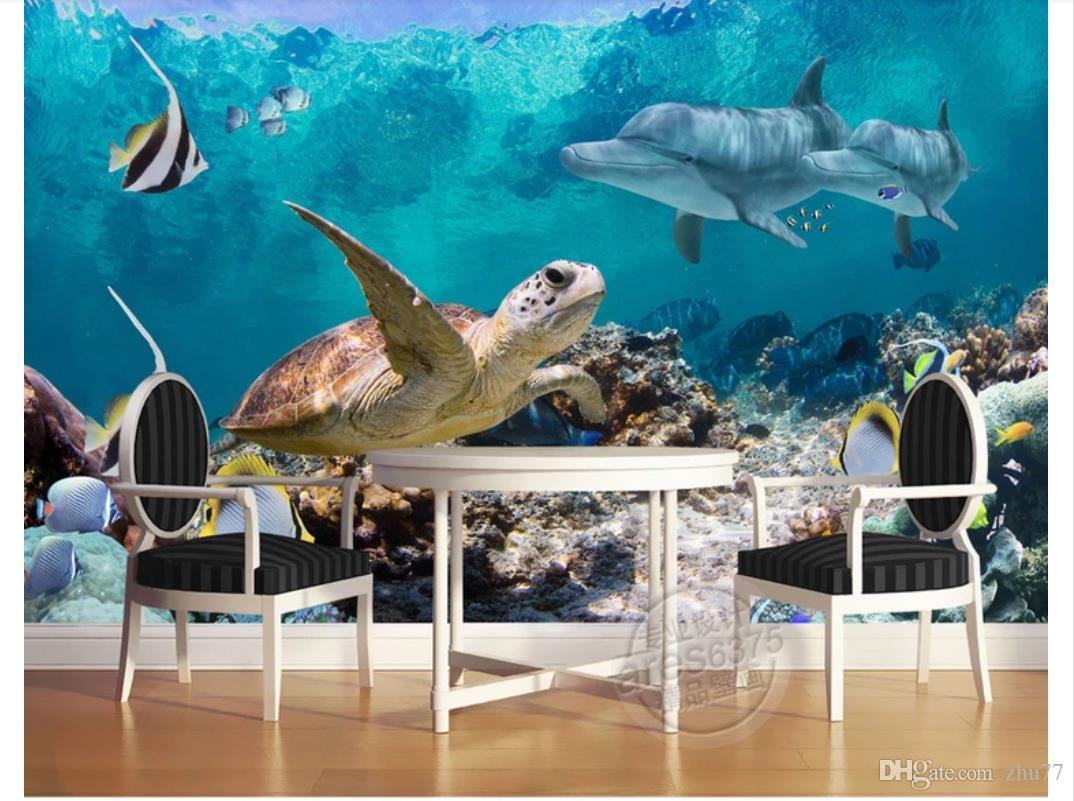3D papel de parede personalizado foto de seda papel de parede mural 3D piso de azulejo pintura tridimensional mundo subaquático mural quarto fundo TV parede