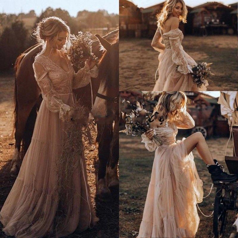 Vintage Country Western Wedding Vestidos 2019 Encaje de manga larga Gateo Gipsy Boho Boho Boho Vestidos de novia Hippie Estilo Abití DA SPOS
