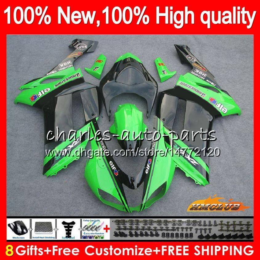 Bodys +8Gifts For KAWASAKI ZX 6R 6 R 600CC ZX636 07 08 34HC.75 ZX-636 ZX600 600 ZX6R 07 08 ZX 636 ZX-6R 2007 2008 Fairing kit stock green