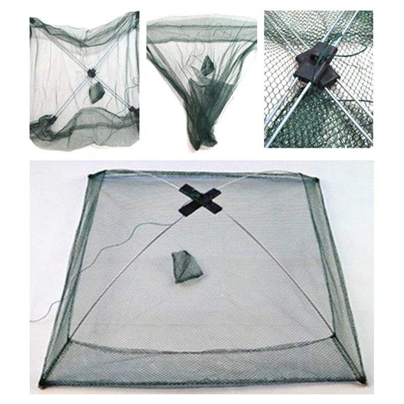 Accessories Fishing Net Foldable Folding Mesh Nylon Fishing Net Baits Trap Cast Dip Crab Shrimp Nets Automatic Trap Outdoor Fishnet