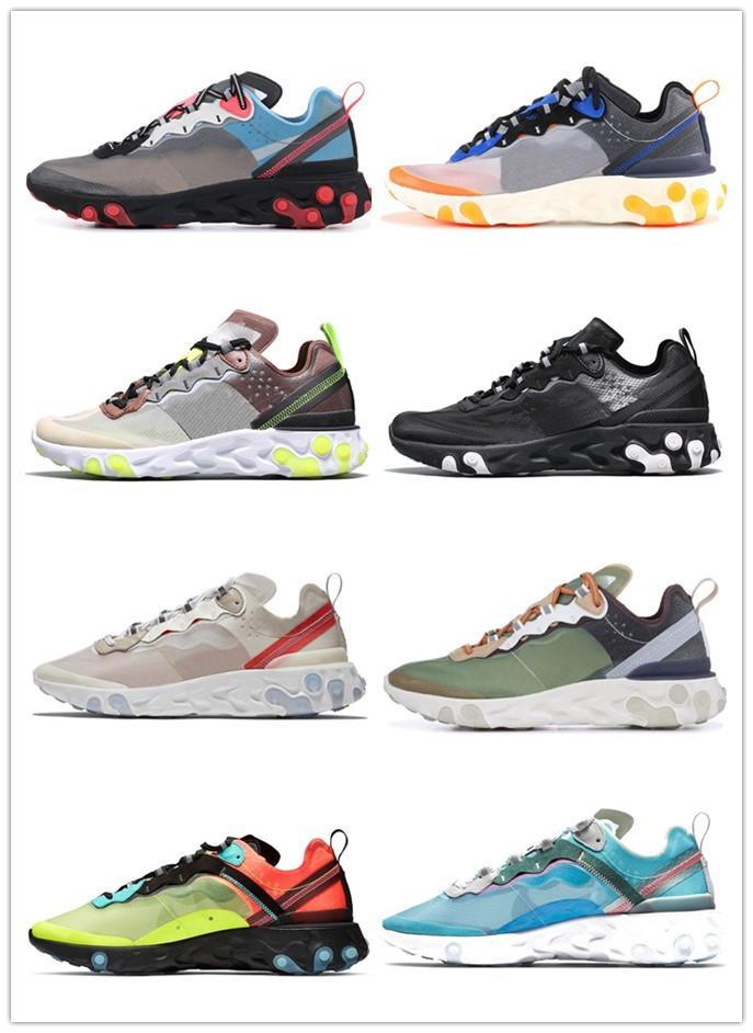 React Element 87 Undercover Running For Women Sneakers Designer Sports Men Trainer Shoes Veil Light Bone Royal Tint 5