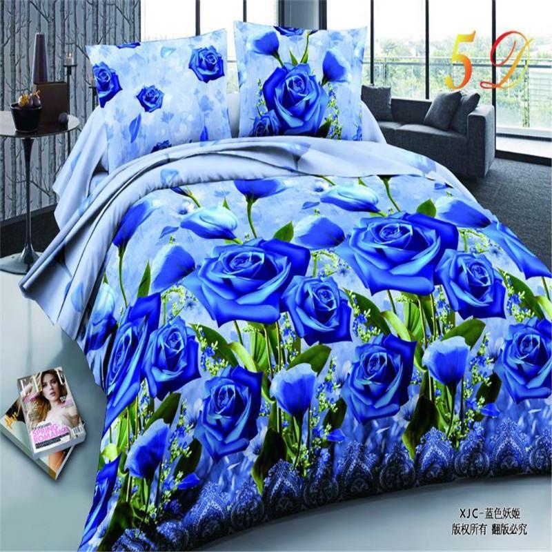 3D Rose Bedding Sets High Quality Soft Duvet Cover Bedsheet Pillowcase Reactive Printed Bedclothes Queen Bed Linen
